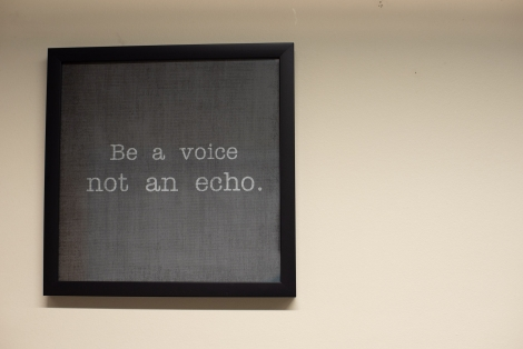 """Wall art that says """"Be a voice, not an echo"""""""